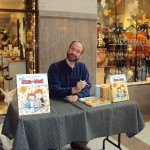 Goofing off at his book signing