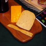 Wooden cheese platter and wooden serving knife by Bare Wood Naturals