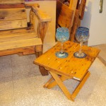 Handcrafted Wood Folding Table & Blown Glass Goblets