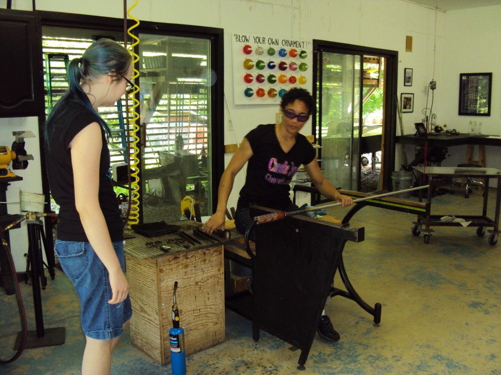 Asheville Artist Terri Sigler Blowing Glass