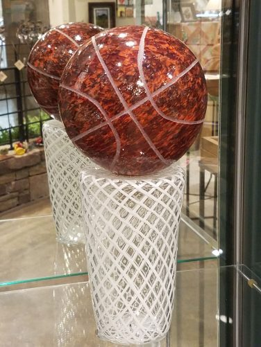 Basketball Sculptures - glass art by Terri Sigler