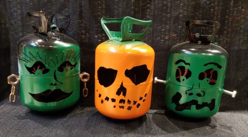 metal yard art - Halloween jack o lanterns